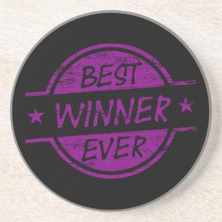 El mejor ganador siempre púrpura posavasos cerveza