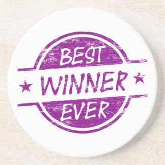 El mejor ganador siempre púrpura posavasos personalizados