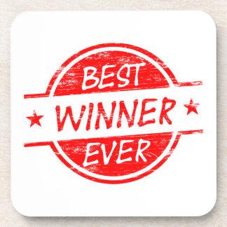 El mejor ganador siempre rojo posavasos de bebidas