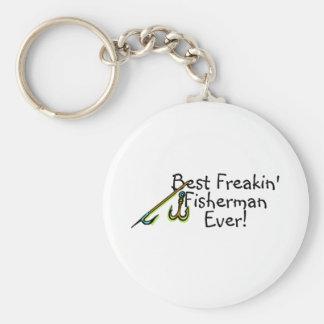 El mejor gancho de Freakin Fishman nunca Llavero Redondo Tipo Pin