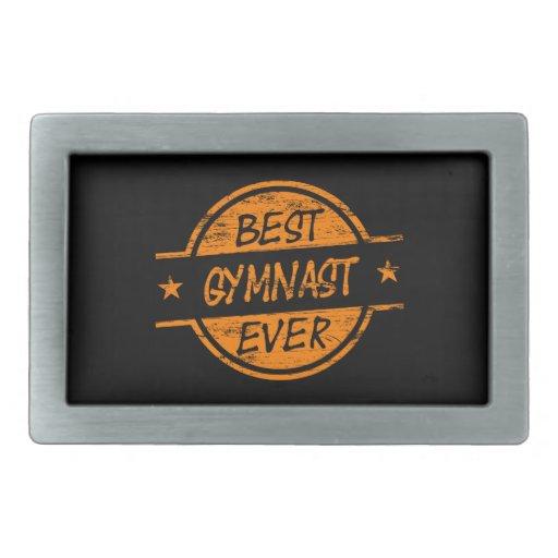 El mejor gimnasta siempre anaranjado hebillas de cinturon rectangulares