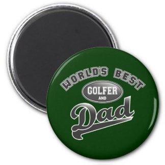 El mejor golfista y el papá del mundo imán redondo 5 cm
