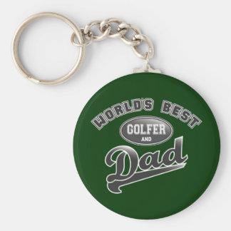 El mejor golfista y el papá del mundo llavero personalizado