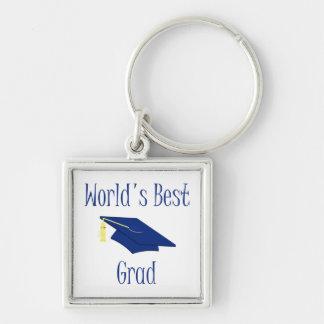 El mejor graduado del mundo (azul) llavero cuadrado plateado