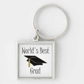 El mejor graduado del mundo (negro) llavero cuadrado plateado