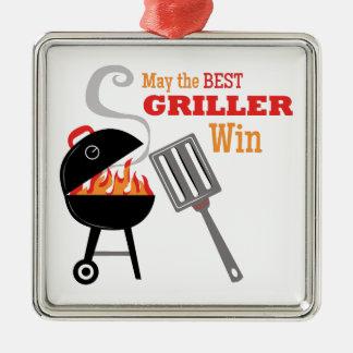 El mejor Griller Adorno Cuadrado Plateado