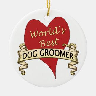 El mejor Groomer del perro del mundo Adorno Redondo De Cerámica
