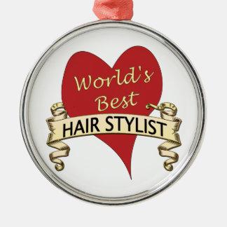 El mejor Hairstylist del mundo Adorno Redondo Plateado