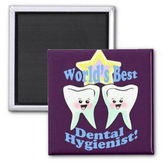 El mejor higienista dental de los mundos imán cuadrado