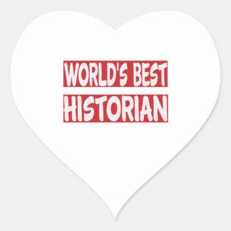 El mejor historiador del mundo pegatina en forma de corazón