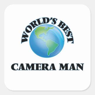 El mejor hombre de la cámara del mundo calcomanía cuadradas personalizada