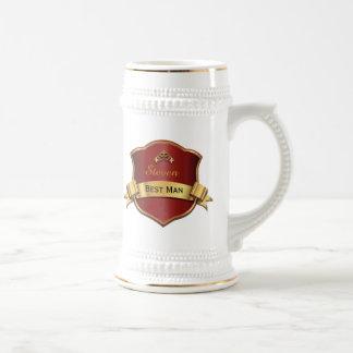 El mejor hombre de la placa roja y dorada que casa jarra de cerveza
