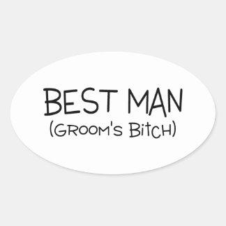 El mejor hombre de los novios pegatina ovalada