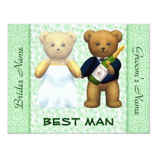 """El mejor hombre - el boda verde de los osos de invitación 4.25"""" x 5.5"""""""