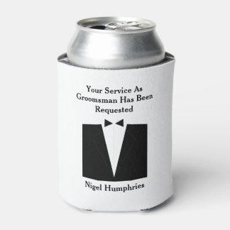 El mejor hombre o padrino de boda invita enfriador de latas