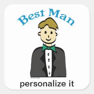 El mejor hombre pegatina cuadrada