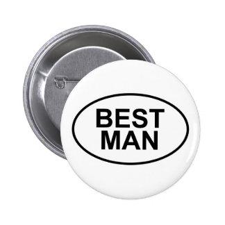 El mejor hombre que casa óvalo pin redondo de 2 pulgadas