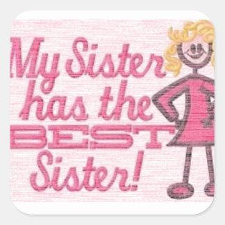 el mejor humor de la hermana calcomanía cuadrada personalizada