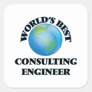 El mejor ingeniero asesor del mundo pegatinas cuadradas personalizadas