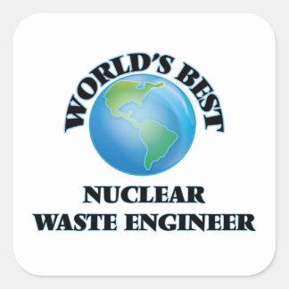 El mejor ingeniero de la basura nuclear del mundo pegatina cuadrada