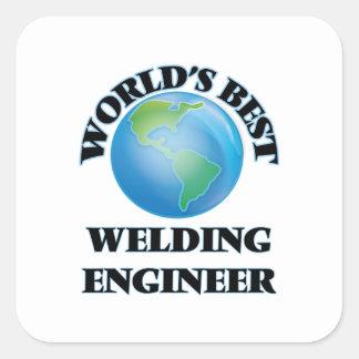 El mejor ingeniero de la soldadura del mundo calcomanía cuadradase