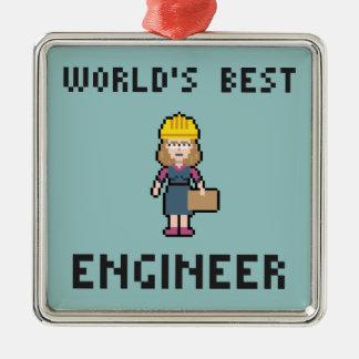 El mejor ingeniero de sexo femenino del pixel adorno navideño cuadrado de metal