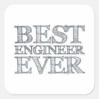 El mejor ingeniero nunca pegatina cuadrada