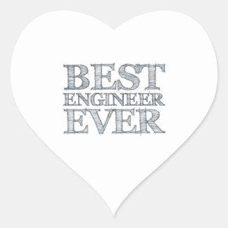 El mejor ingeniero nunca pegatina en forma de corazón