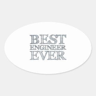 El mejor ingeniero nunca pegatina ovalada