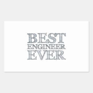El mejor ingeniero nunca pegatina rectangular