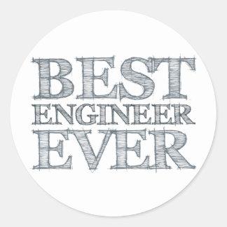 El mejor ingeniero nunca pegatina redonda