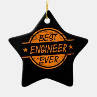 El mejor ingeniero siempre anaranjado adorno navideño de cerámica en forma de estrella