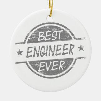 El mejor ingeniero siempre gris adorno navideño redondo de cerámica