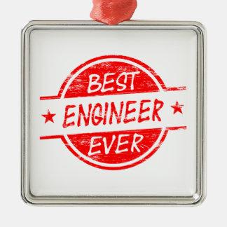 El mejor ingeniero siempre rojo adorno navideño cuadrado de metal