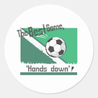 """El mejor juego """"manos abajo """" pegatina redonda"""