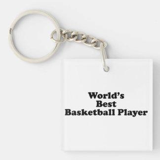 El mejor jugador de básquet del mundo llavero cuadrado acrílico a una cara