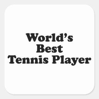 El mejor jugador de tenis del mundo pegatina cuadradas personalizada