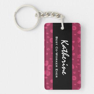 El mejor leopardo rosado conocido siempre de llavero rectangular acrílico a una cara