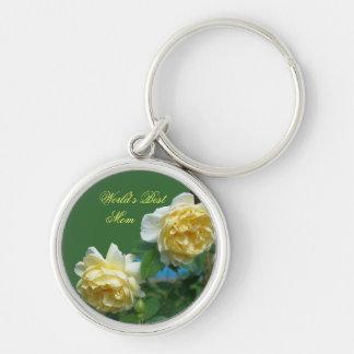 El mejor llavero de la flor de los rosas amarillos