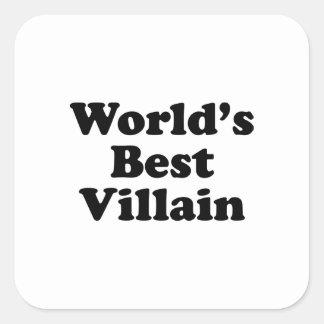 El mejor malvado del mundo pegatina cuadradas personalizada