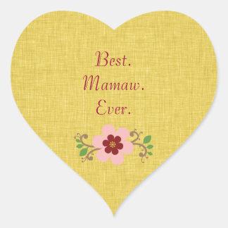 El mejor Mamaw nunca Colcomanias Corazon Personalizadas
