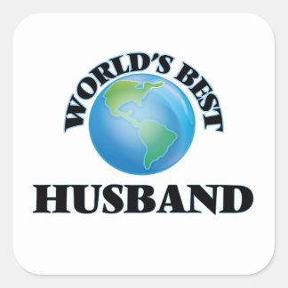 El mejor marido del mundo pegatina cuadrada