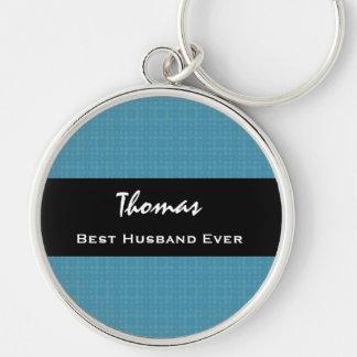 El mejor marido nombre de encargo siempre azul y n llavero redondo plateado