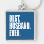 El mejor. Marido. Nunca. (azul) Llavero Personalizado
