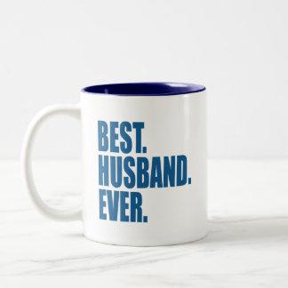 El mejor. Marido. Nunca. (azul) Taza Dos Tonos