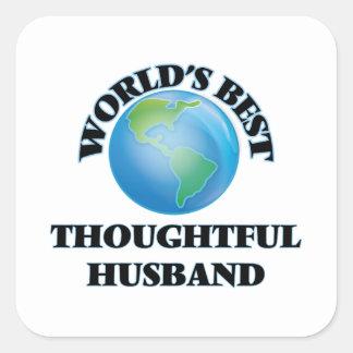 El mejor marido pensativo del mundo pegatina cuadrada