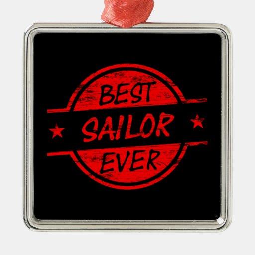 El mejor marinero siempre rojo adorno navideño cuadrado de metal