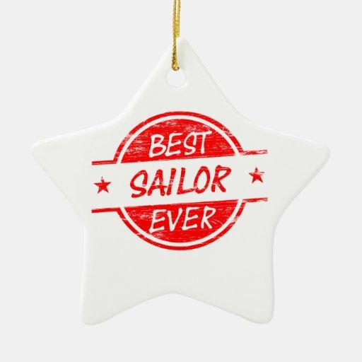 El mejor marinero siempre rojo adorno de cerámica en forma de estrella