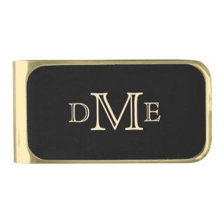 El mejor monograma del negro del hombre clip para billetes dorado