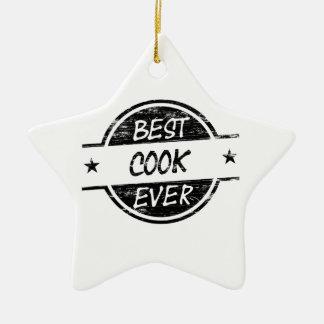 El mejor negro del cocinero nunca adorno navideño de cerámica en forma de estrella